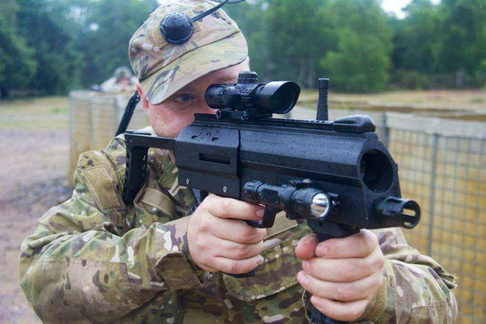 Laser Tag Games: Picture showing ECombat gamer in full combat load-out with MP7 at Longmore, U.K., 2013.