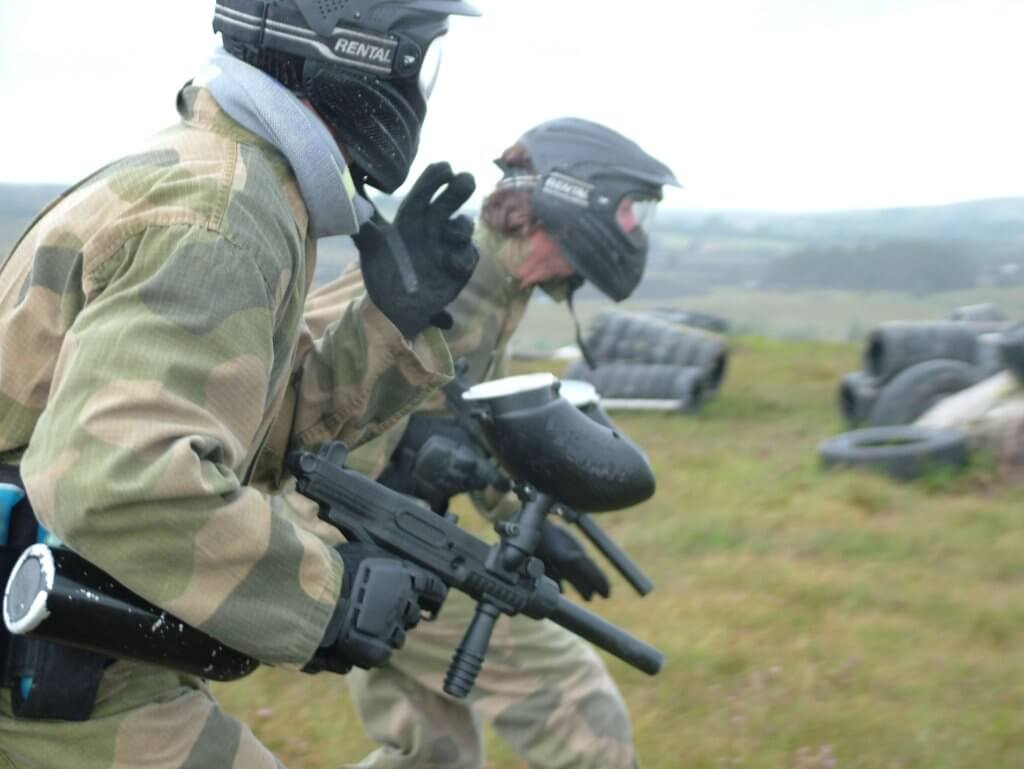 Paintball at Eile Mental, Galway. Paintballers moving into action.